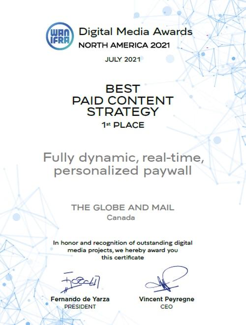 Sophi Dynamic Paywall wins WAN-IFRA Digital Media Award